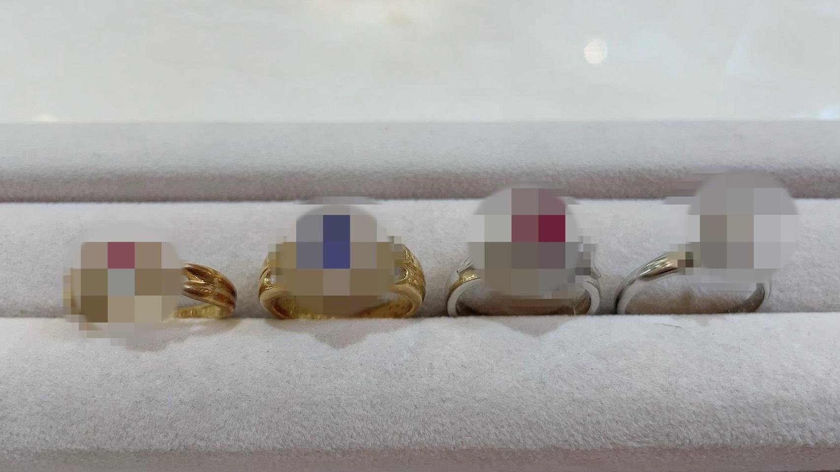 【買取速報】アクアマリン、サファイヤ、ダイヤモンド、ピンクトルマリン、ルビー、指輪、K18YG、P-2021-04-11