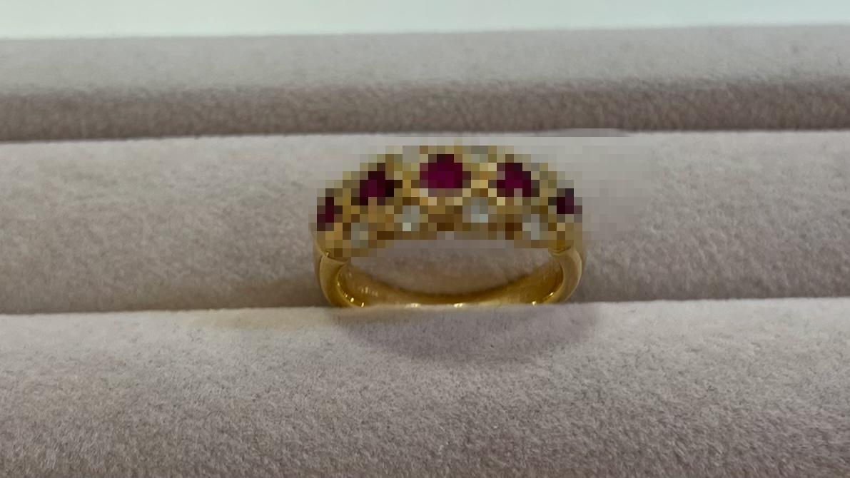 【買取速報】ダイヤモンド、ルビー、指輪、K18YG-2021-04-23