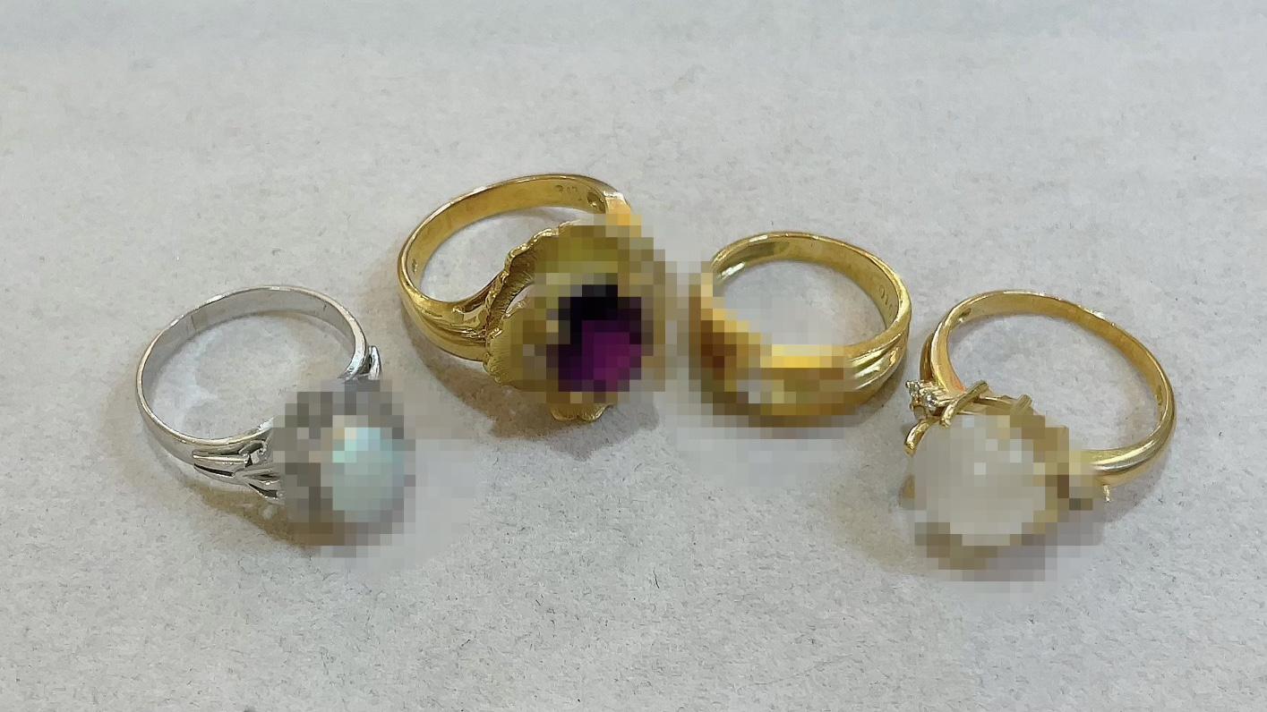 【買取速報】アメジスト、オパール、ダイヤモンド、ムーンストーン、指輪、K18YG、PT850-2021-05-25