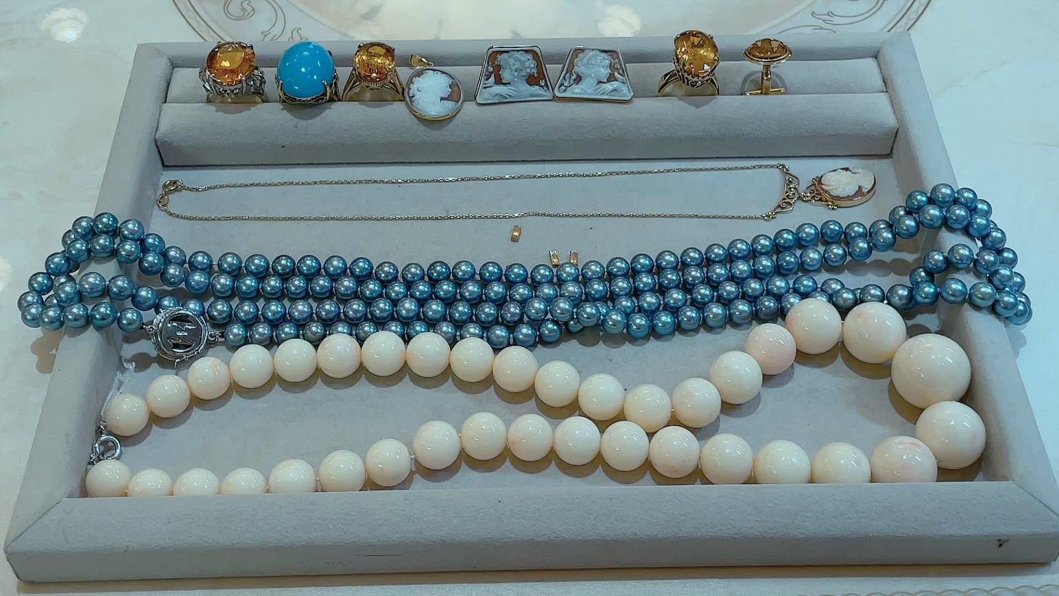 【買取速報】グレーパール、シトリン、ダイヤモンド、トルコ石、珊瑚(コーラル)、ネックレス、ピ-2021-09-03