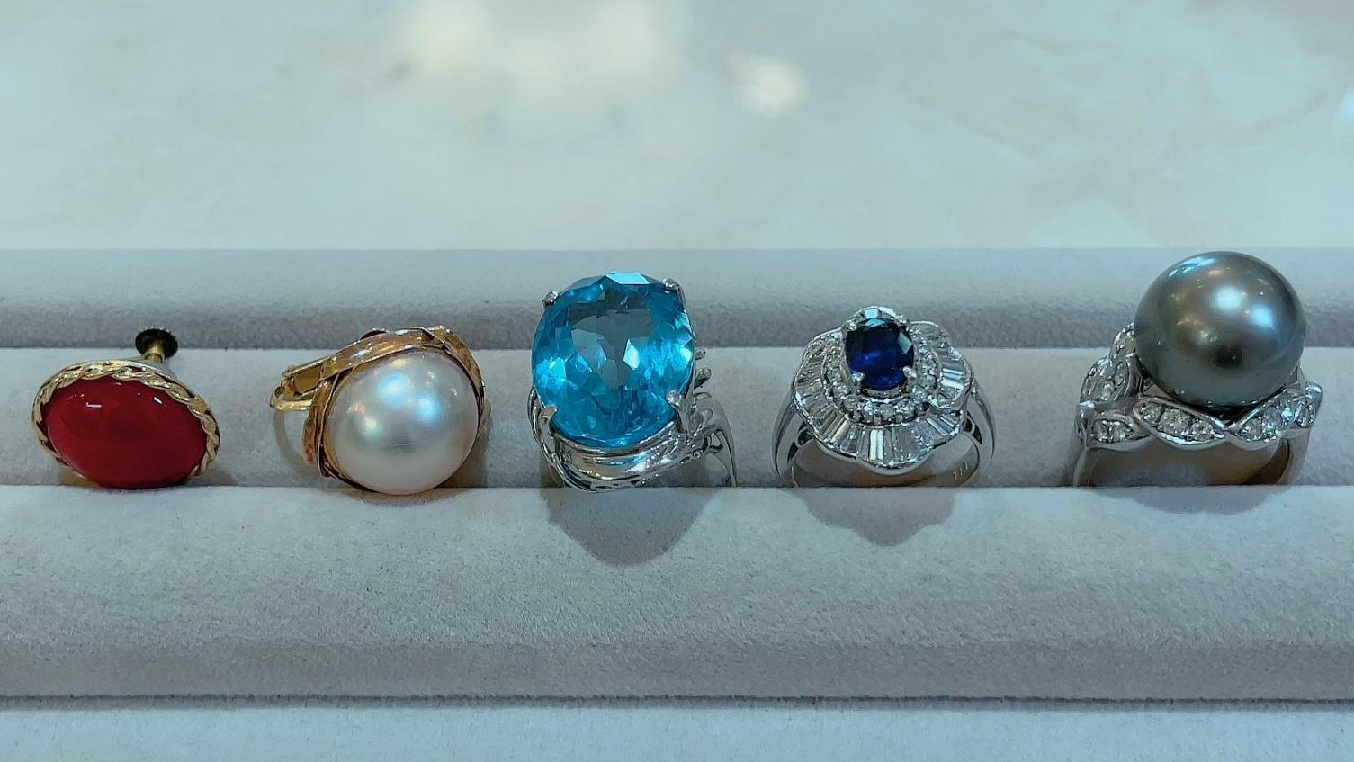 【買取速報】サファイヤ、タヒチパール、ダイヤモンド、ブルートパーズ、マベパール、メノー、ピア-2021-09-05