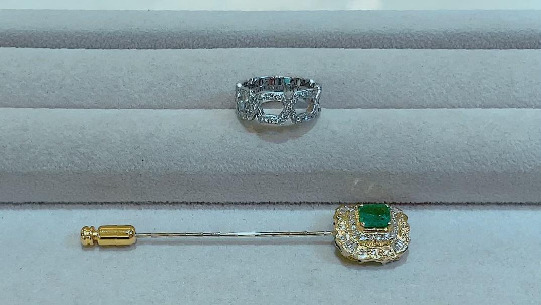 【買取速報】エメラルド、ダイヤモンド、ブローチ、指輪、750、K18WG-2021-09-30