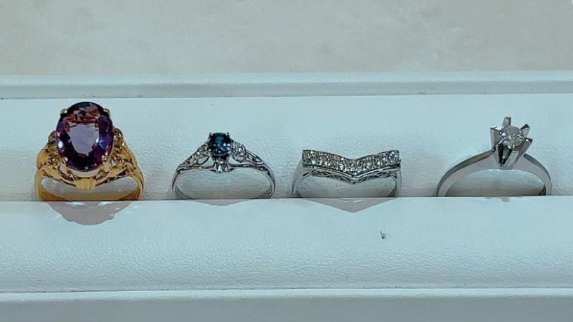 【買取速報】アメジスト、サファイヤ、ダイヤモンド、指輪、K18YG、PT900-2021-10-03
